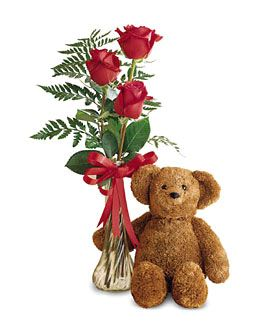 US flower - roses with teddy bear